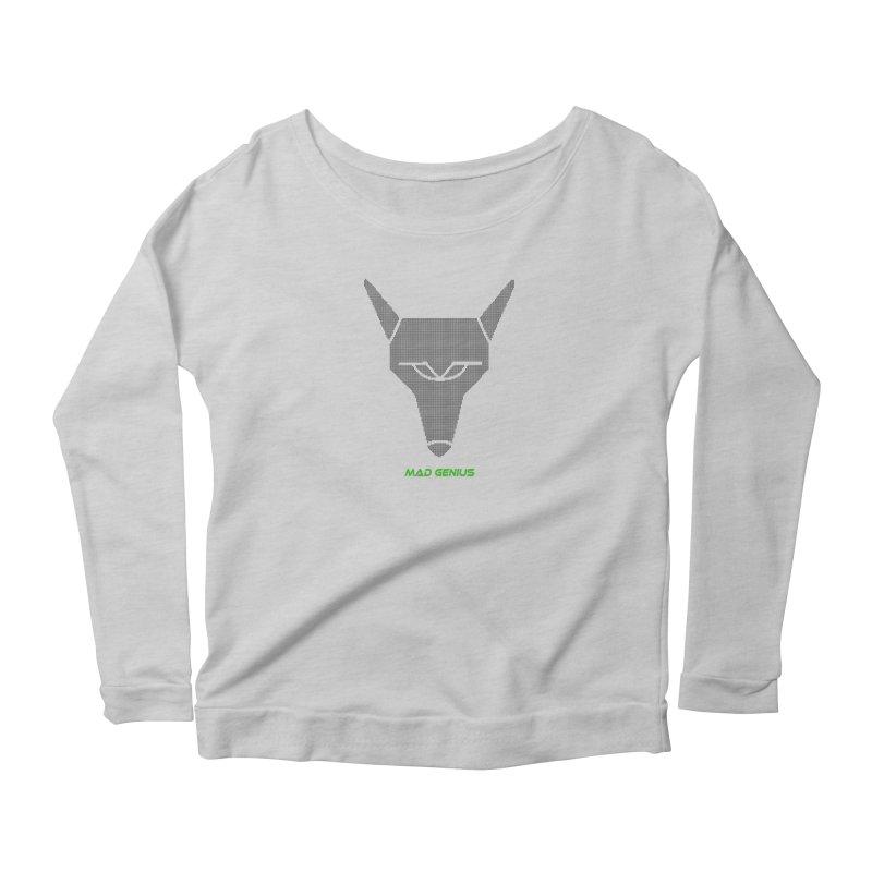 Mad Genius Black Hat Fox MG Women's Scoop Neck Longsleeve T-Shirt by The Mad Genius Artist Shop