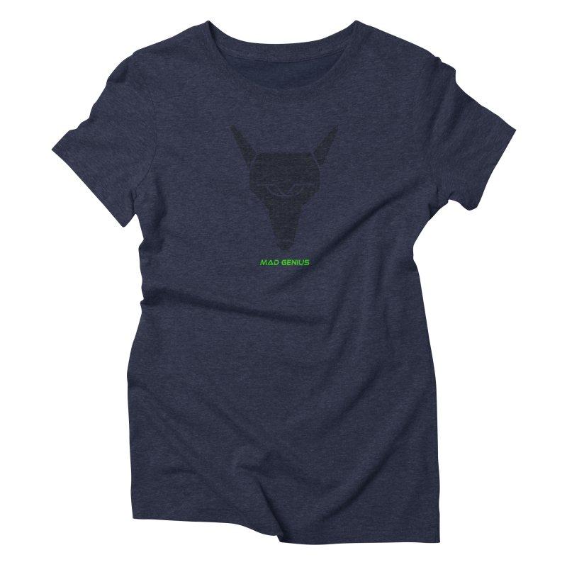 Mad Genius Black Hat Fox MG Women's Triblend T-Shirt by The Mad Genius Artist Shop