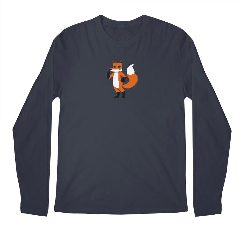 Mad Genius Pixel Fox Men's Regular Longsleeve T-Shirt by The Mad Genius Artist Shop