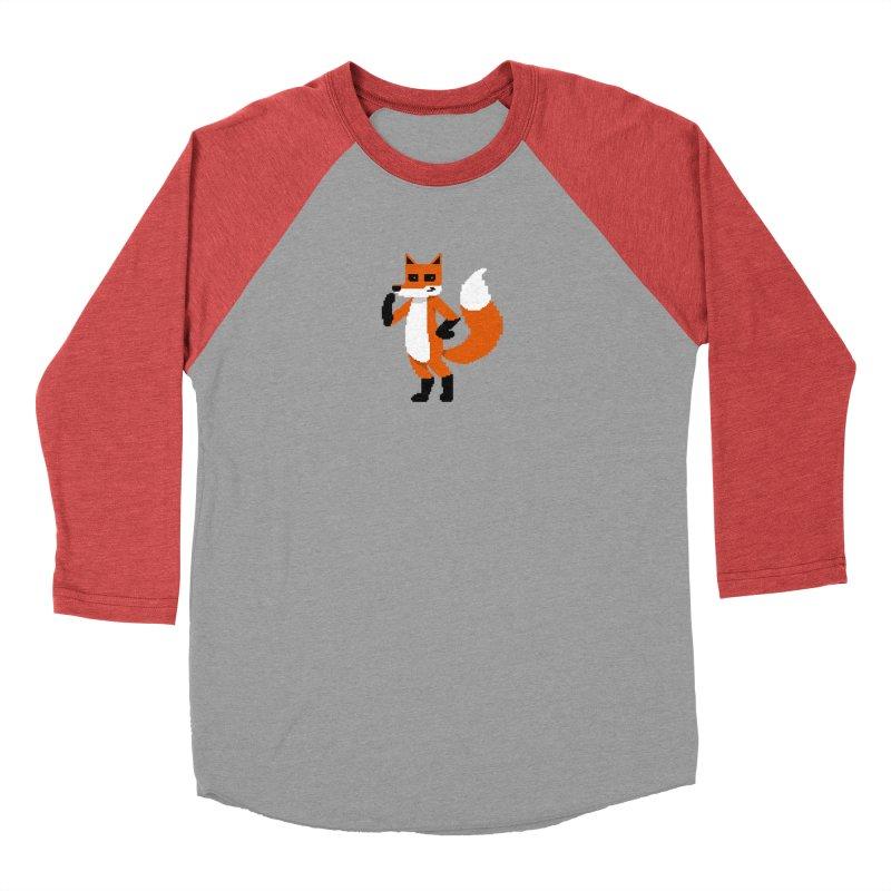 Mad Genius Pixel Fox Women's Baseball Triblend Longsleeve T-Shirt by The Mad Genius Artist Shop