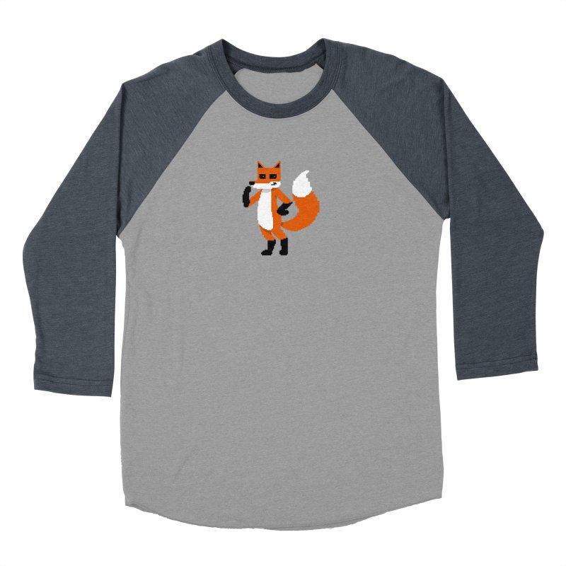 Mad Genius Pixel Fox Men's Baseball Triblend Longsleeve T-Shirt by The Mad Genius Artist Shop