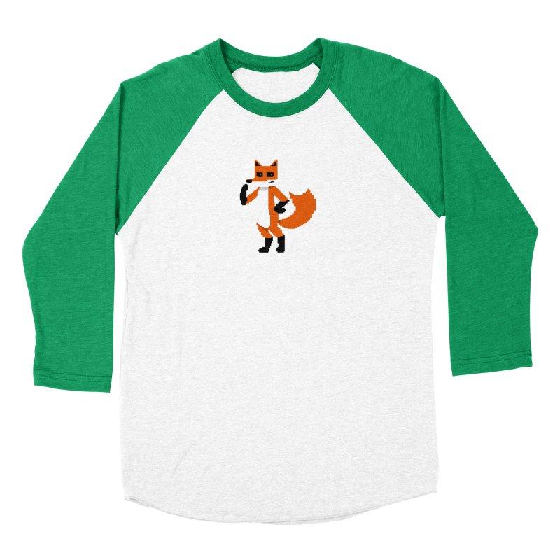 Mad Genius Pixel Fox Men's Baseball Triblend T-Shirt by The Mad Genius Artist Shop
