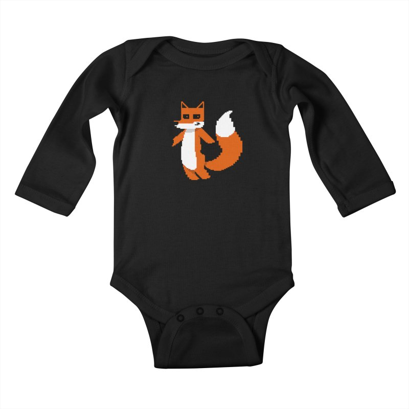 Mad Genius Pixel Fox Kids Baby Longsleeve Bodysuit by The Mad Genius Artist Shop