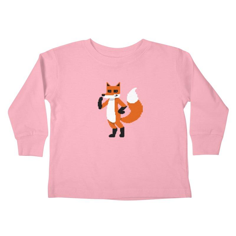 Mad Genius Pixel Fox Kids Toddler Longsleeve T-Shirt by The Mad Genius Artist Shop