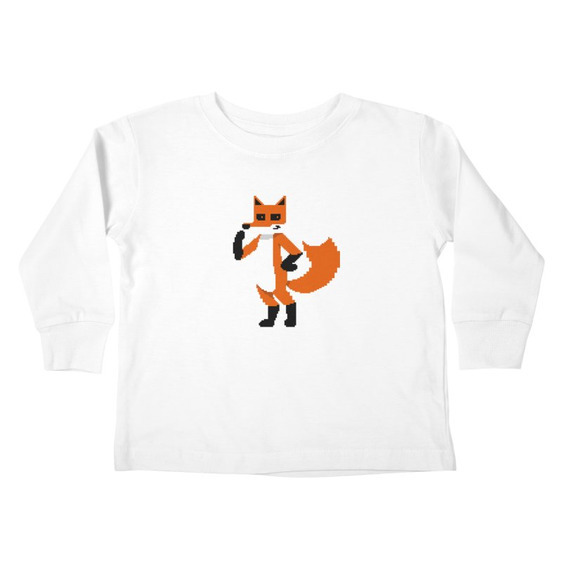 Mad Genius Pixel Fox Kids Toddler Longsleeve T-Shirt by The Mad Genius Artist Shop