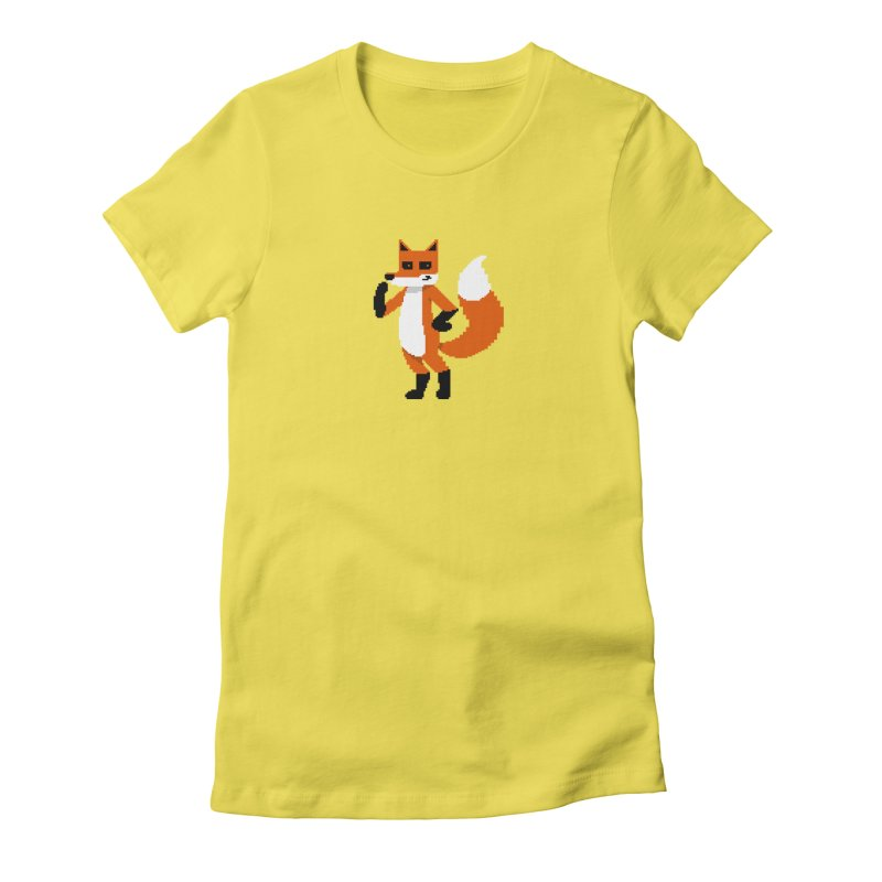 Mad Genius Pixel Fox Women's Fitted T-Shirt by The Mad Genius Artist Shop