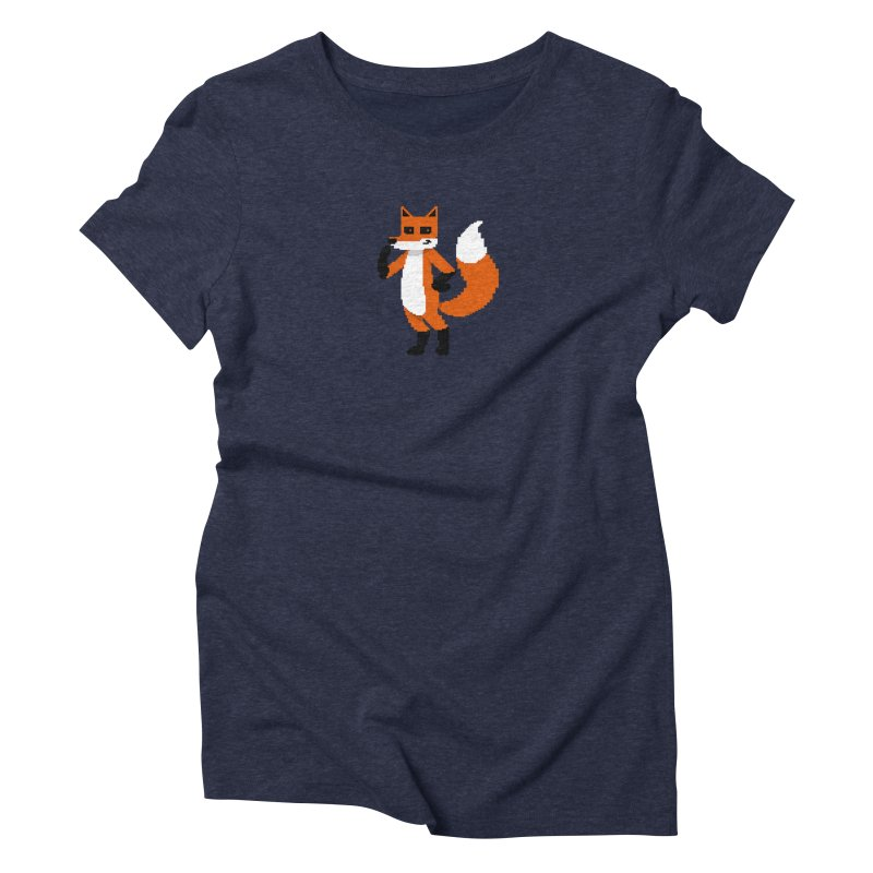 Mad Genius Pixel Fox Women's Triblend T-Shirt by The Mad Genius Artist Shop