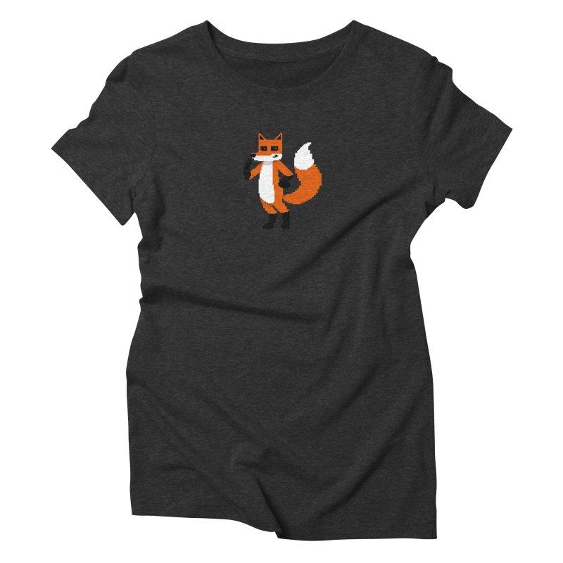 Mad Genius Pixel Fox Women's Triblend T-Shirt by The Mad Genius Artist Shop
