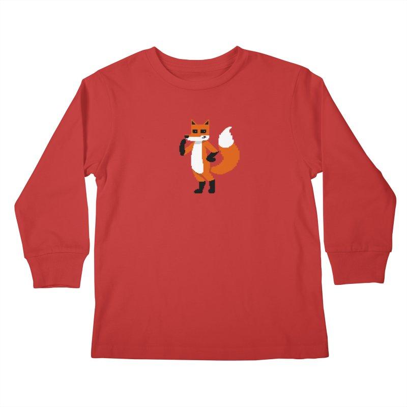 Mad Genius Pixel Fox Kids Longsleeve T-Shirt by The Mad Genius Artist Shop
