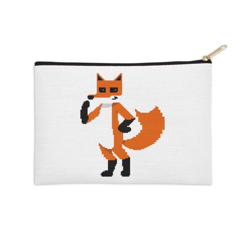 Mad Genius Pixel Fox Accessories Zip Pouch by The Mad Genius Artist Shop
