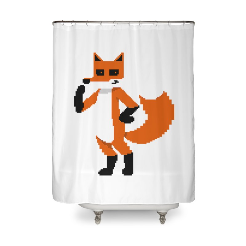 Mad Genius Pixel Fox Home Shower Curtain by The Mad Genius Artist Shop