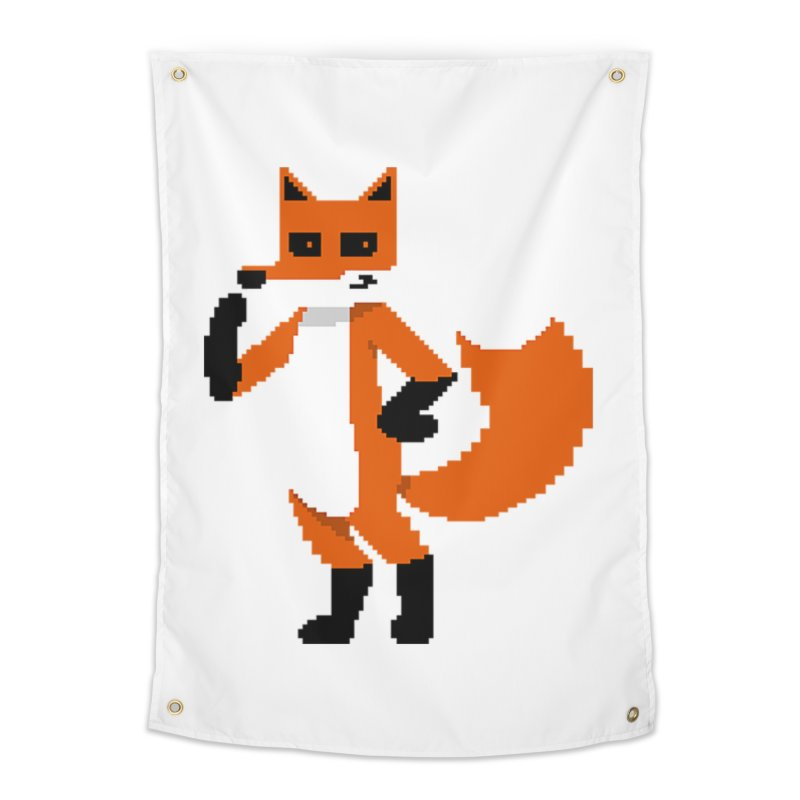 Mad Genius Pixel Fox Home Tapestry by The Mad Genius Artist Shop