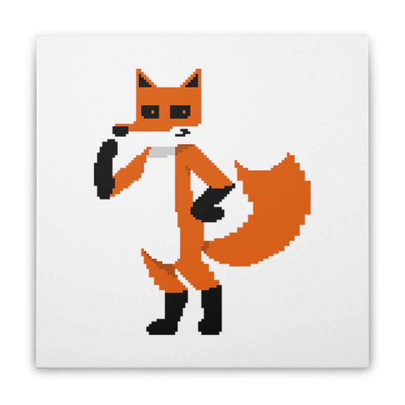 Mad Genius Pixel Fox Home Stretched Canvas by The Mad Genius Artist Shop