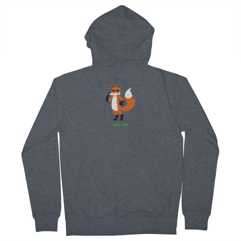 MR. VIX Pixel Fox Men's Zip-Up Hoody by The Mad Genius Artist Shop