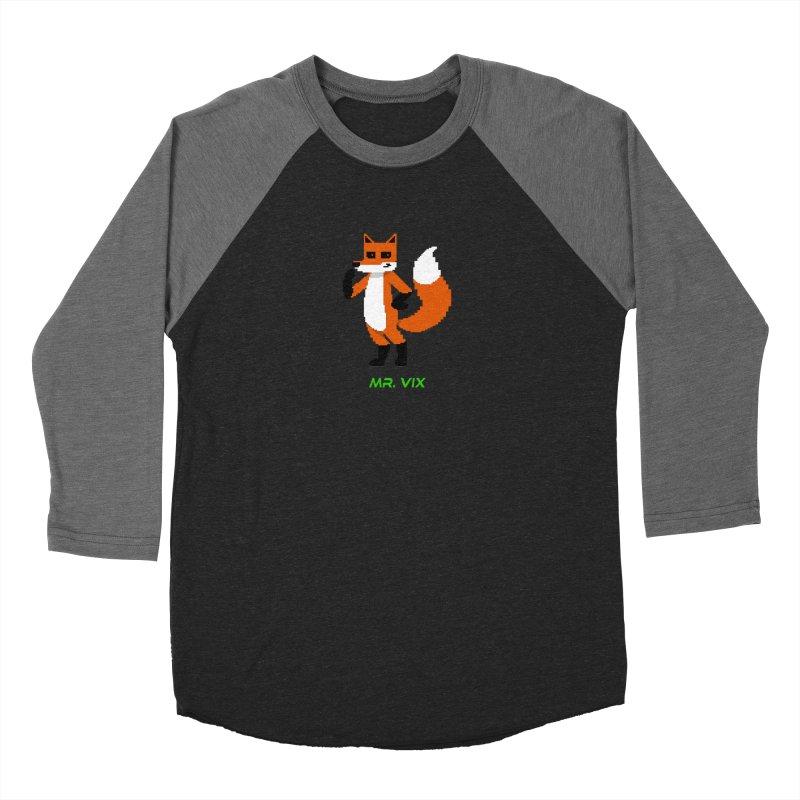 MR. VIX Pixel Fox Men's Baseball Triblend Longsleeve T-Shirt by The Mad Genius Artist Shop