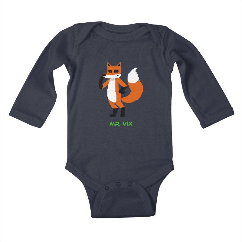 MR. VIX Pixel Fox Kids Baby Longsleeve Bodysuit by The Mad Genius Artist Shop