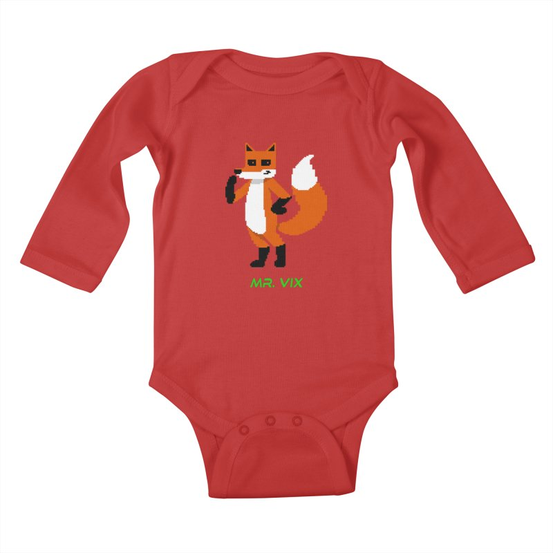 MR. VIX Pixel Fox Kids Baby Longsleeve Bodysuit by The Mad Genius Artist Shop