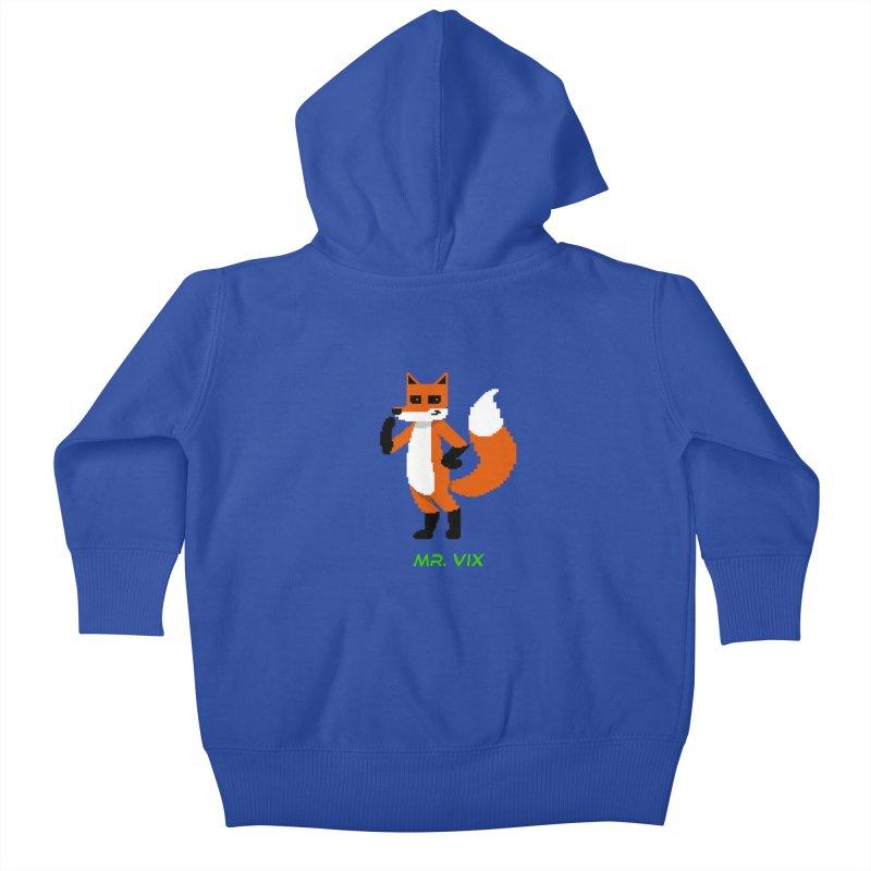 MR. VIX Pixel Fox Kids Baby Zip-Up Hoody by The Mad Genius Artist Shop