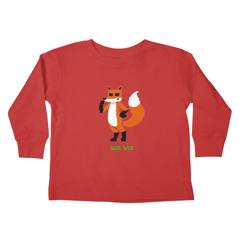 MR. VIX Pixel Fox Kids Toddler Longsleeve T-Shirt by The Mad Genius Artist Shop