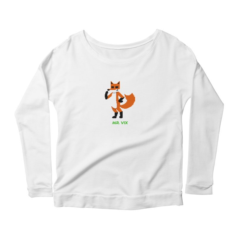 MR. VIX Pixel Fox Women's Longsleeve Scoopneck  by The Mad Genius Artist Shop