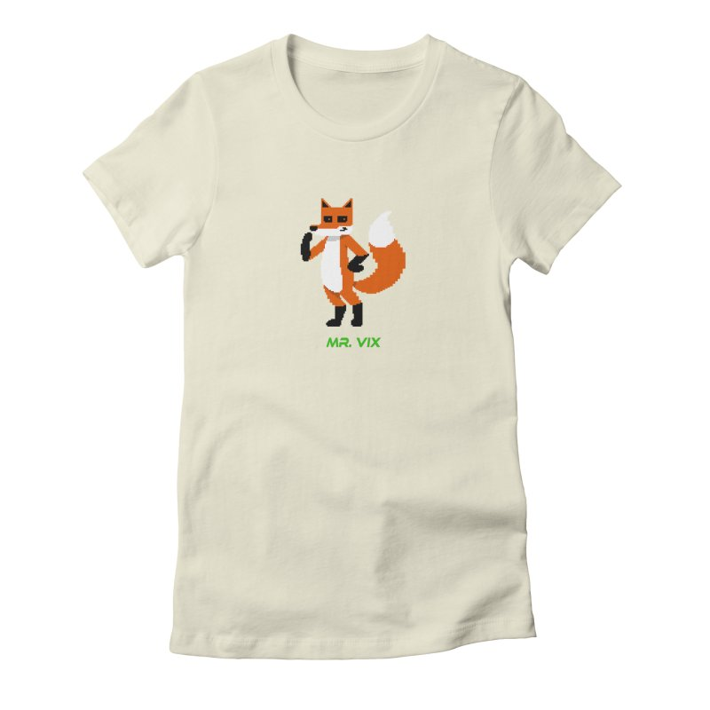 MR. VIX Pixel Fox Women's Fitted T-Shirt by The Mad Genius Artist Shop