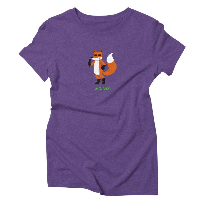 MR. VIX Pixel Fox Women's Triblend T-Shirt by The Mad Genius Artist Shop
