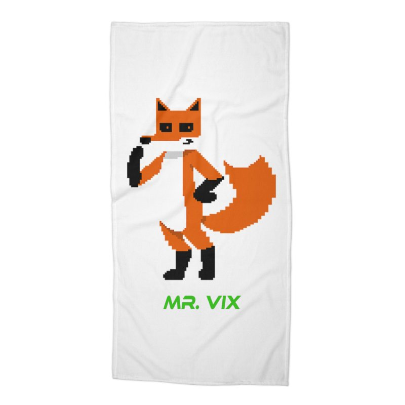 MR. VIX Pixel Fox Accessories Beach Towel by The Mad Genius Artist Shop