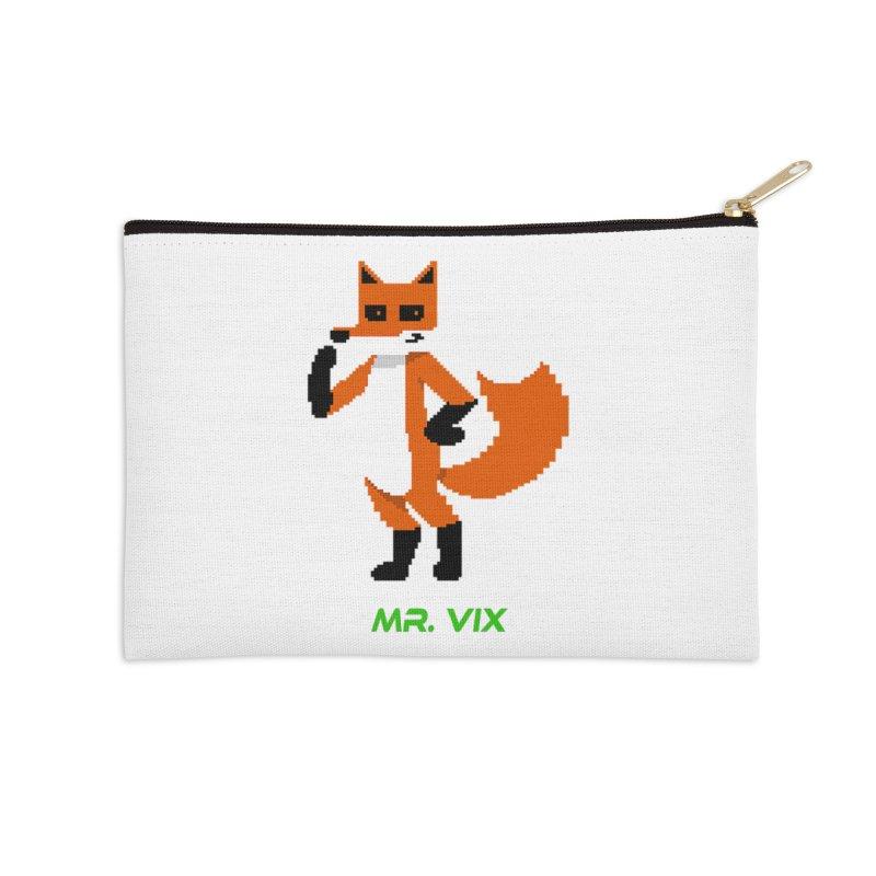 MR. VIX Pixel Fox Accessories Zip Pouch by The Mad Genius Artist Shop