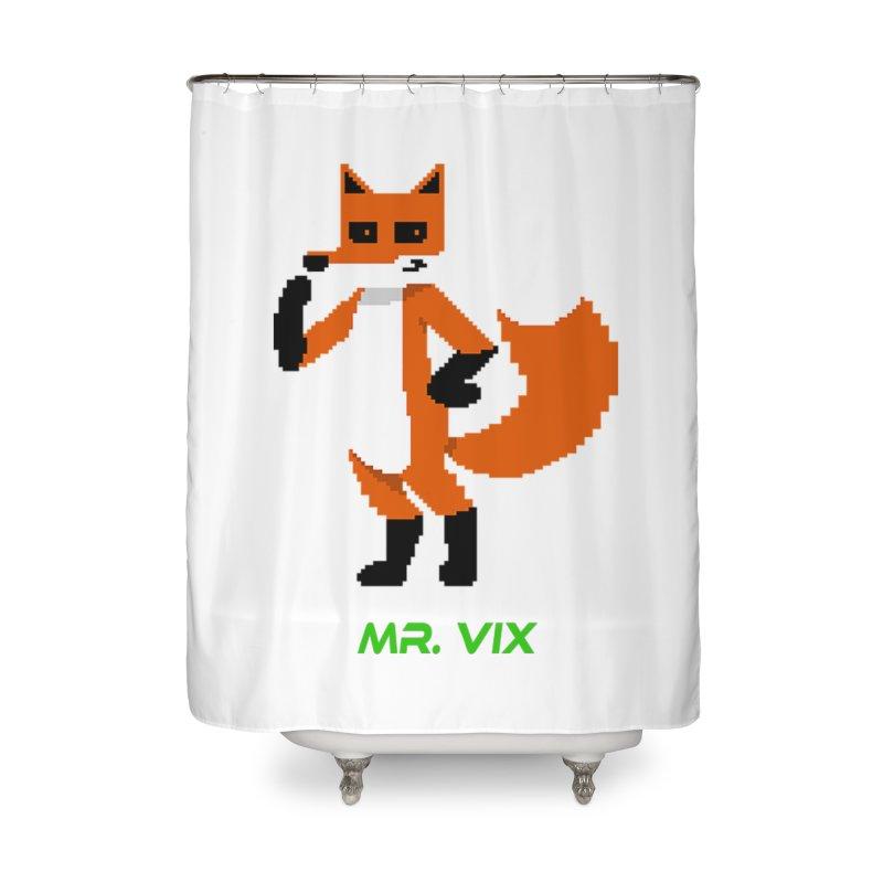 MR. VIX Pixel Fox Home Shower Curtain by The Mad Genius Artist Shop