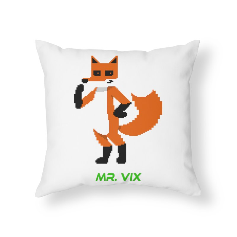 MR. VIX Pixel Fox Home Throw Pillow by The Mad Genius Artist Shop