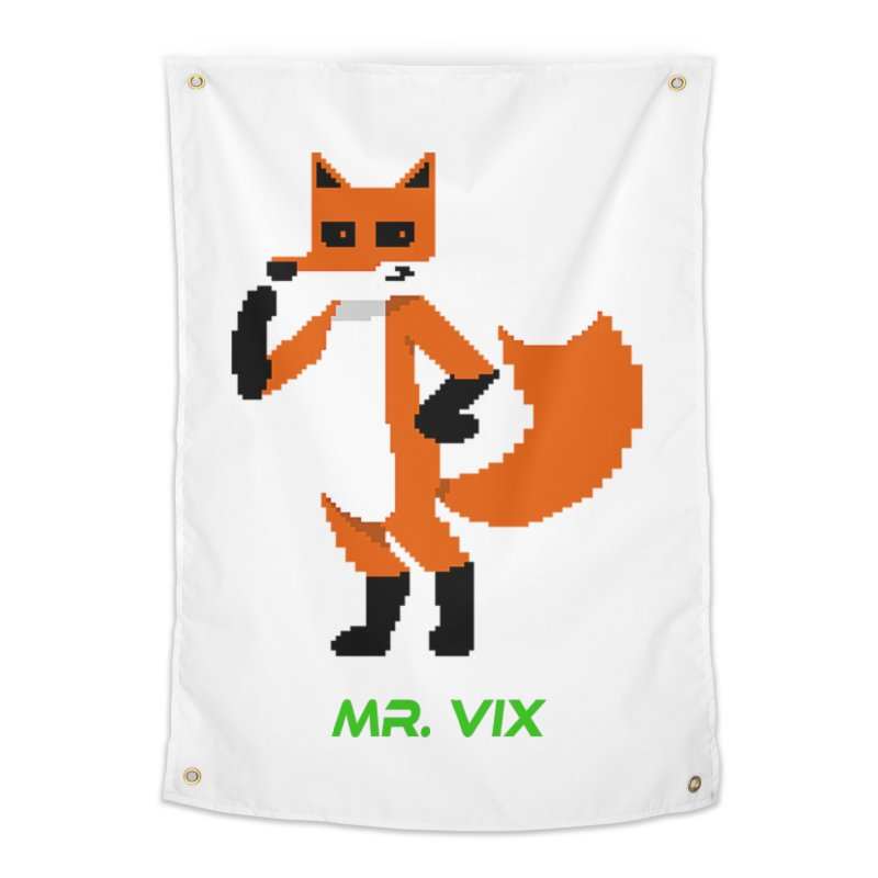 MR. VIX Pixel Fox Home Tapestry by The Mad Genius Artist Shop
