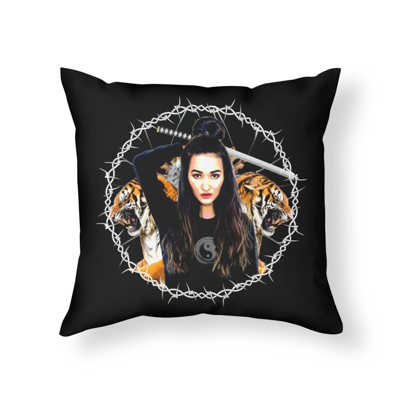 Lady Tiger Samurai Home Throw Pillow by MaddFictional's Artist Shop