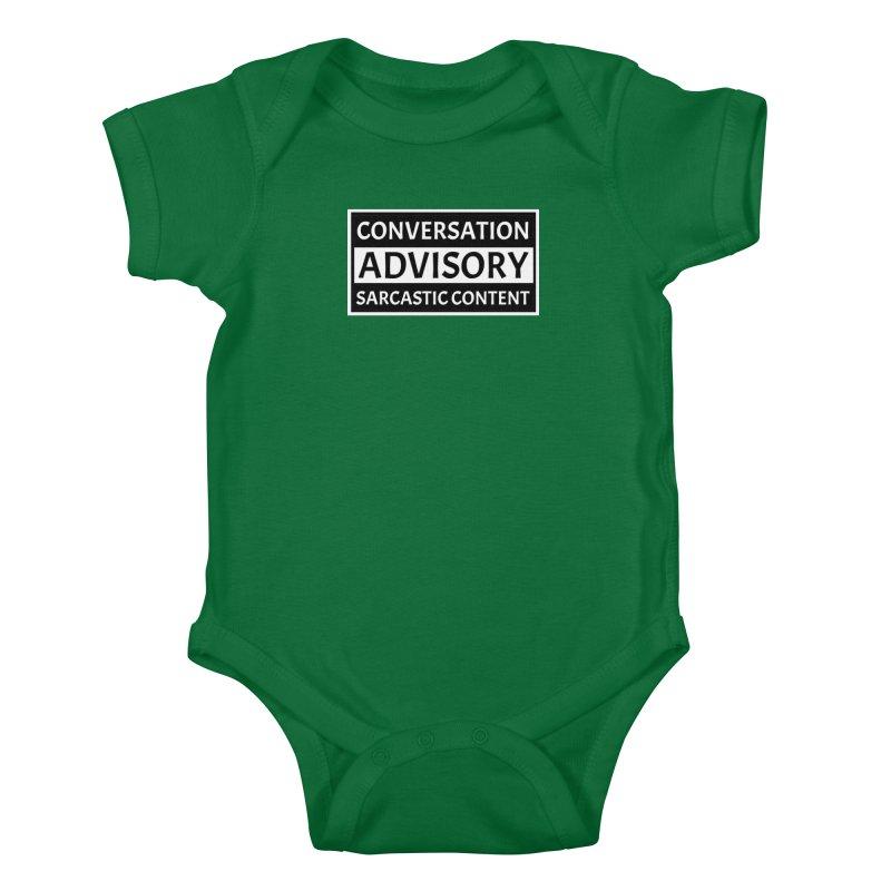 Conversation Advisory: Sarcastic Content Kids Baby Bodysuit by MaddFictional's Artist Shop
