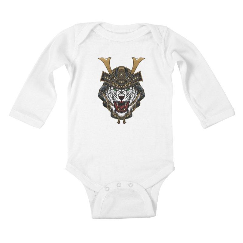 White Tiger Samurai Kids Baby Longsleeve Bodysuit by MaddFictional's Artist Shop