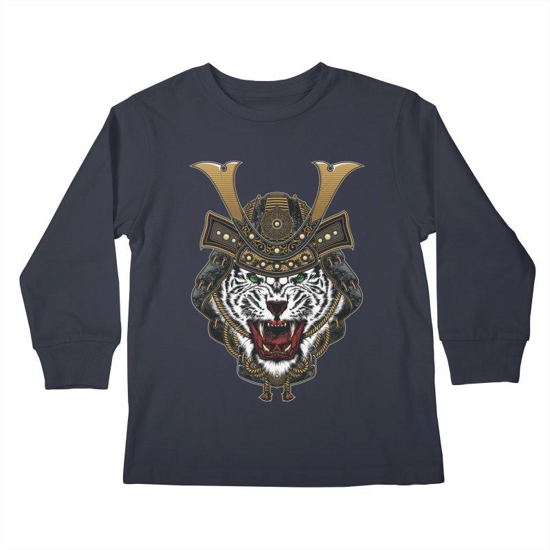 White Tiger Samurai Kids Longsleeve T-Shirt by MaddFictional's Artist Shop