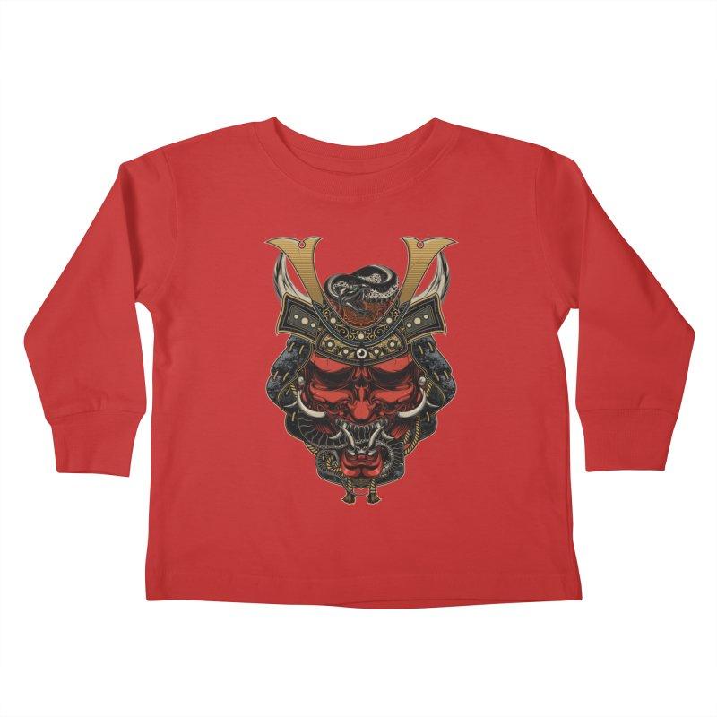 Samurai Hannya Mask Kids Toddler Longsleeve T-Shirt by MaddFictional's Artist Shop