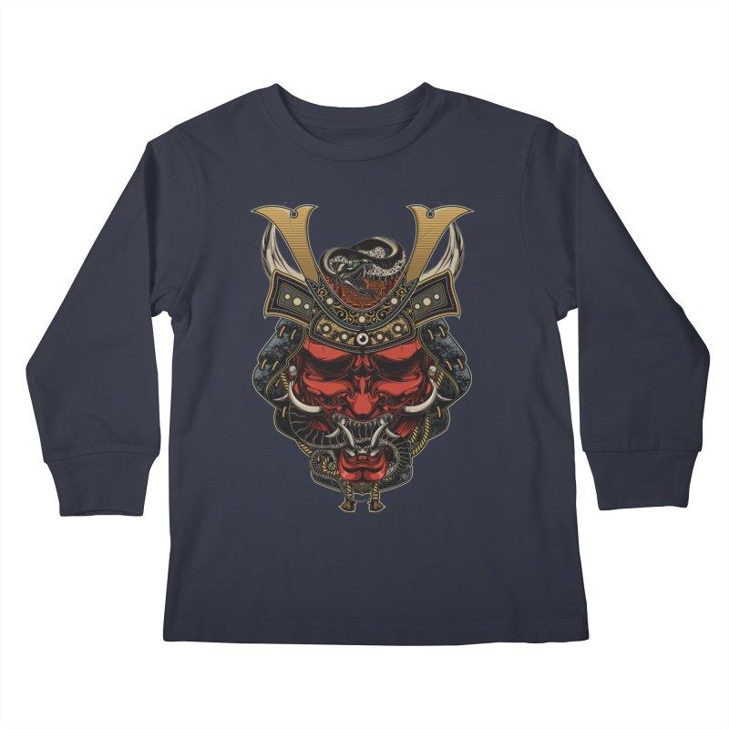 Samurai Hannya Mask Kids Longsleeve T-Shirt by MaddFictional's Artist Shop