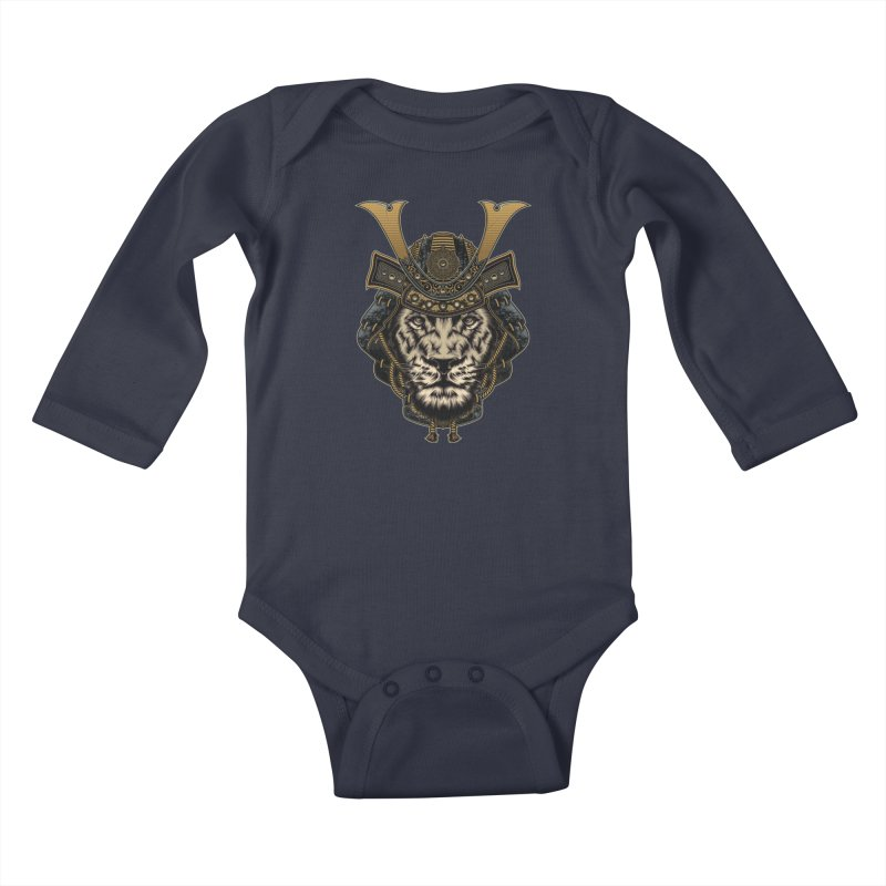 Samurai Lion Kids Baby Longsleeve Bodysuit by MaddFictional's Artist Shop