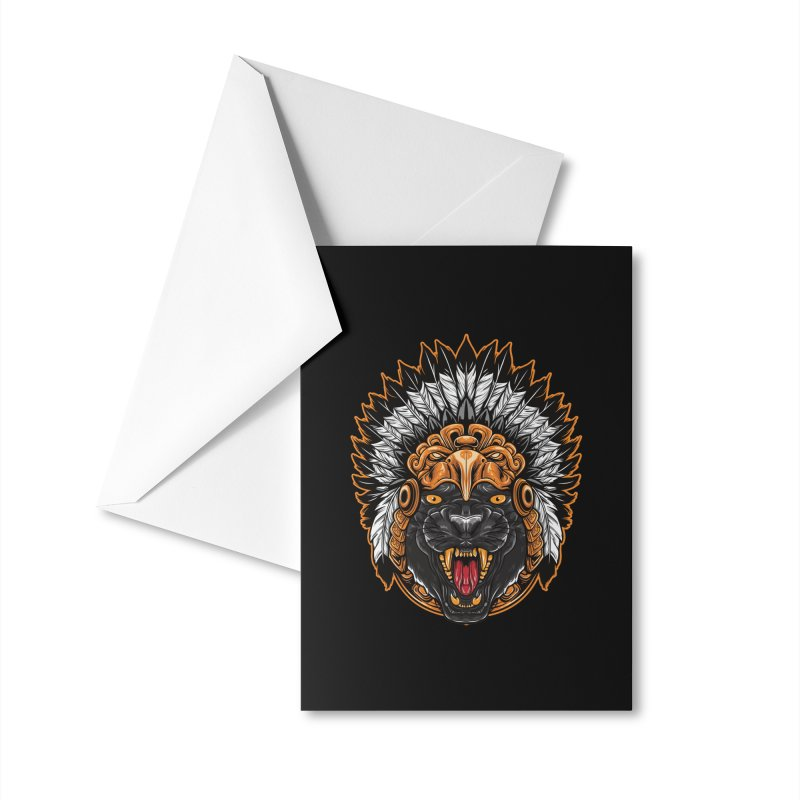 Aztec Black Panther Warrior Accessories Greeting Card by MaddFictional's Artist Shop