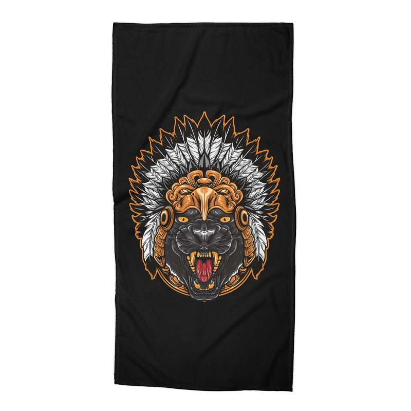 Aztec Black Panther Warrior Accessories Beach Towel by MaddFictional's Artist Shop