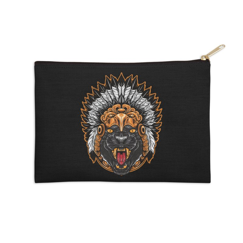 Aztec Black Panther Warrior Accessories Zip Pouch by MaddFictional's Artist Shop