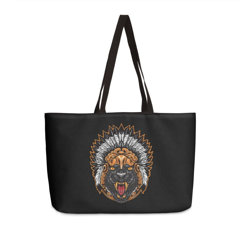 Aztec Black Panther Warrior Accessories Bag by MaddFictional's Artist Shop