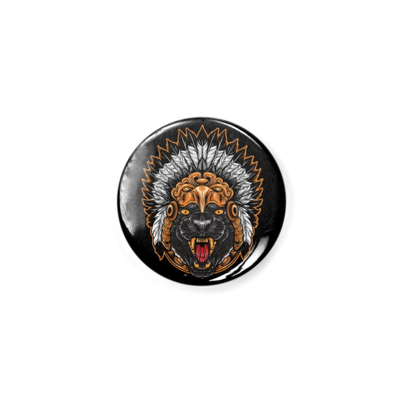 Aztec Black Panther Warrior Accessories Button by MaddFictional's Artist Shop