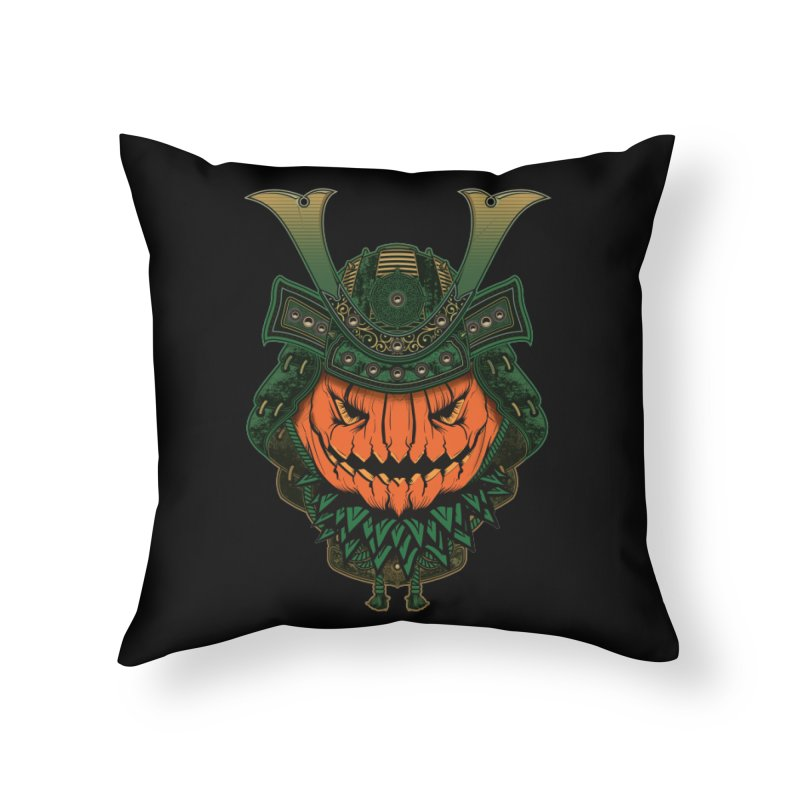 Jack O Lantern Samurai Home Throw Pillow by MaddFictional's Artist Shop