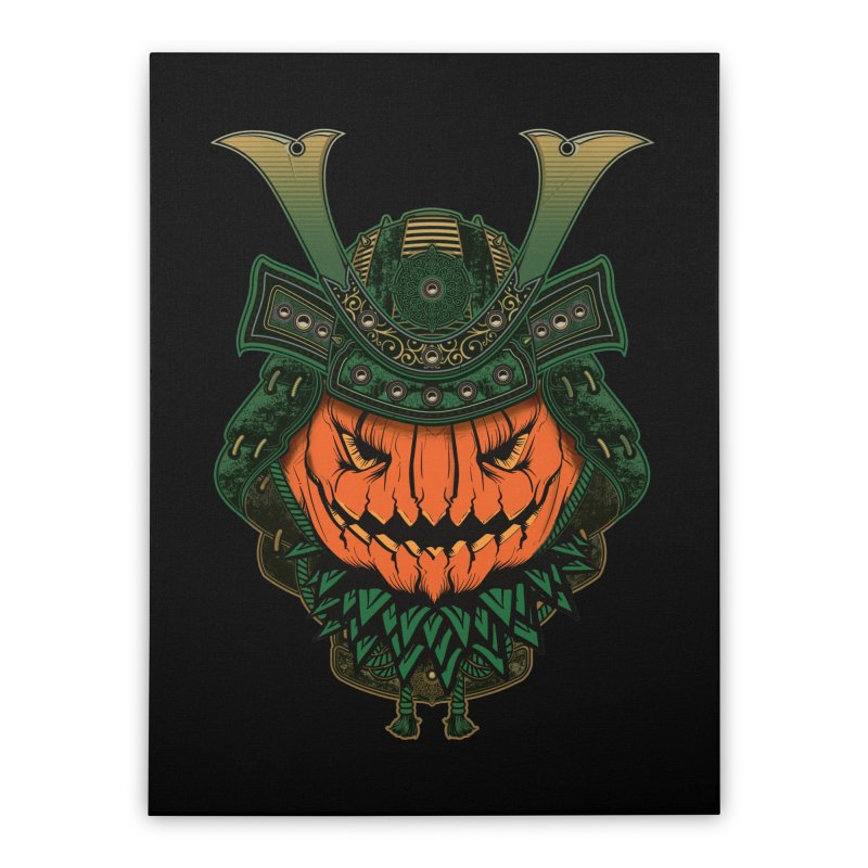 Jack O Lantern Samurai Home Stretched Canvas by MaddFictional's Artist Shop