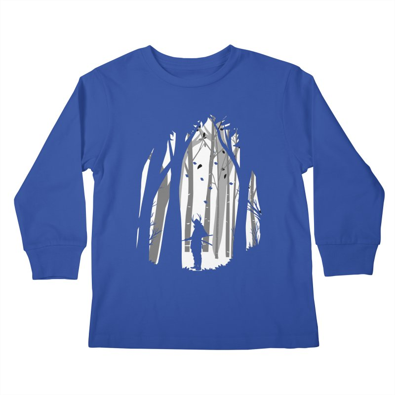Samurai of Snow Forest Kids Longsleeve T-Shirt by MaddFictional's Artist Shop