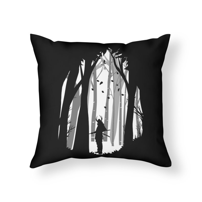 Samurai of Snow Forest Home Throw Pillow by MaddFictional's Artist Shop