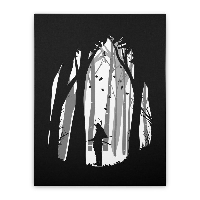 Samurai of Snow Forest Home Stretched Canvas by MaddFictional's Artist Shop