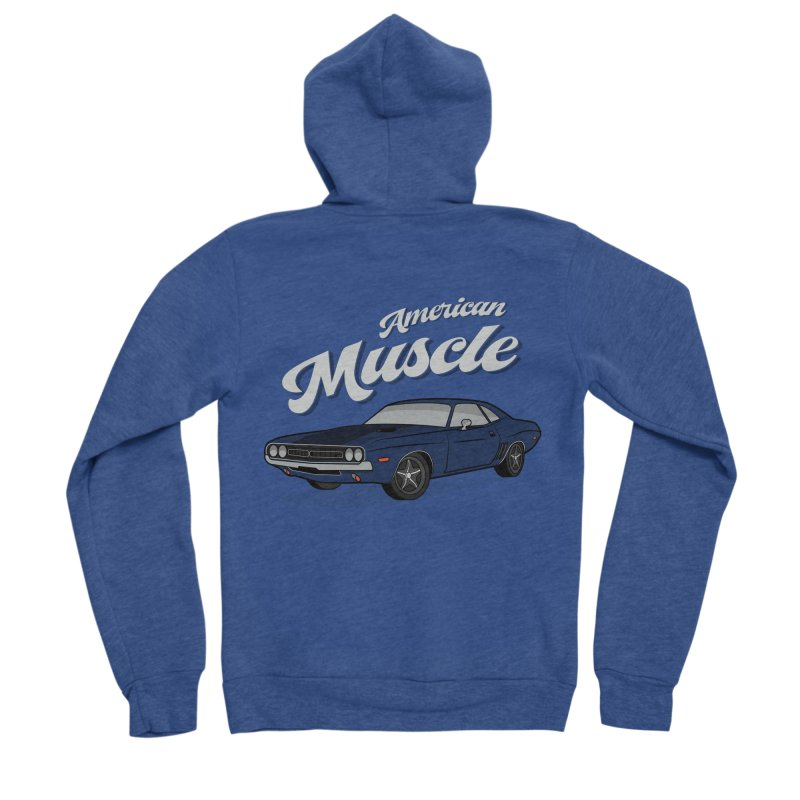 American Muscle Car 60s 70s Vintage Men's Sponge Fleece Zip-Up Hoody by MadeByBono