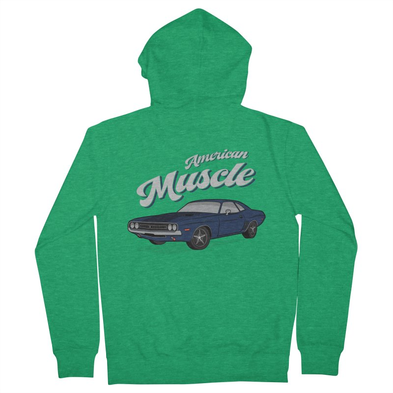 American Muscle Car 60s 70s Vintage Women's French Terry Zip-Up Hoody by MadeByBono